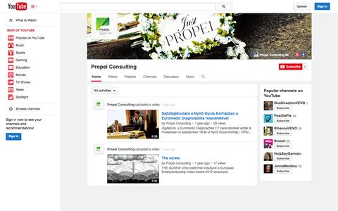 Screenshot of YouTube Page youtube.com - Propel Consulting  - YouTube - captured Oct. 23, 2014
