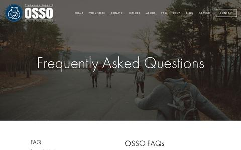 Screenshot of FAQ Page orphanagesupport.org - Frequently Asked Questions — Orphanage Support Services Organization (OSSO) - captured Oct. 20, 2018