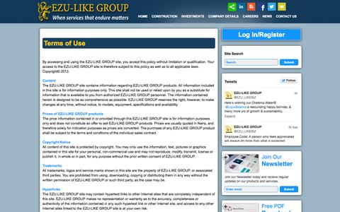Screenshot of Terms Page ezu-likegroup.com - Terms of Use   EZU-LIKE - captured Oct. 1, 2014