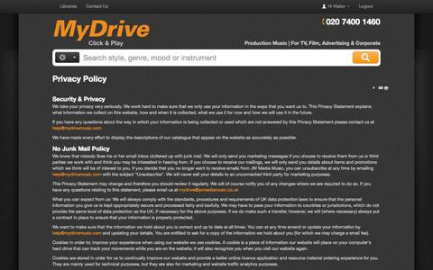 Screenshot of Privacy Page mydrivemusic.com - Privacy Policy - MyDrive Online - captured Oct. 6, 2014