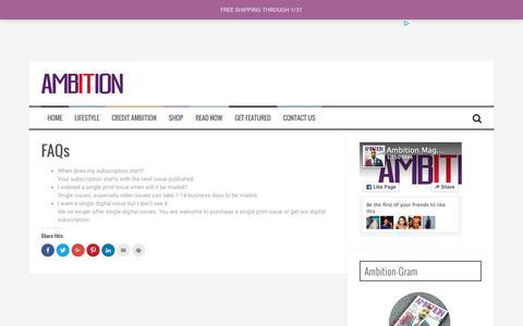 Screenshot of FAQ Page ambitionmag.com - FAQs – Ambition Magazine, LLC - captured Feb. 6, 2016