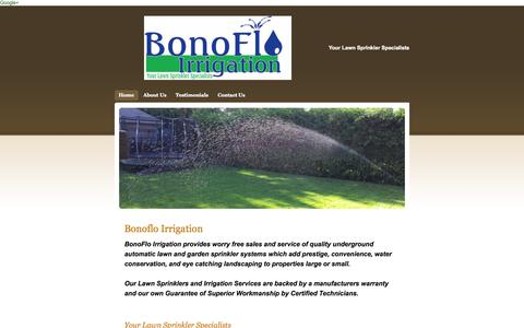 Screenshot of Home Page bonoflo.ca - Automatic In Ground Lawn Sprinkler Systems - Home - captured Oct. 5, 2014