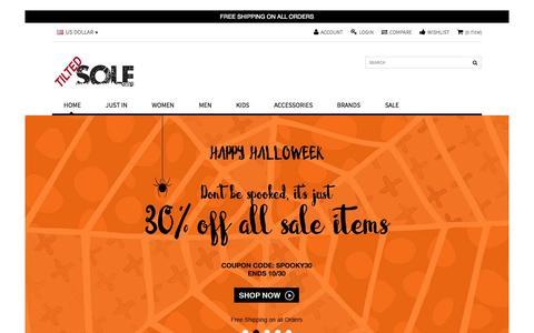 Screenshot of Home Page tiltedsole.com - Tilted Sole | Jeffrey Campbell Shoes, UNIF, UGG Boots & More - captured Nov. 1, 2015