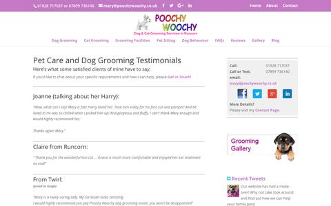 Screenshot of Testimonials Page poochywoochy.co.uk - Cat and dog grooming testimonials Runcorn | Poochy Woochy - captured July 14, 2016