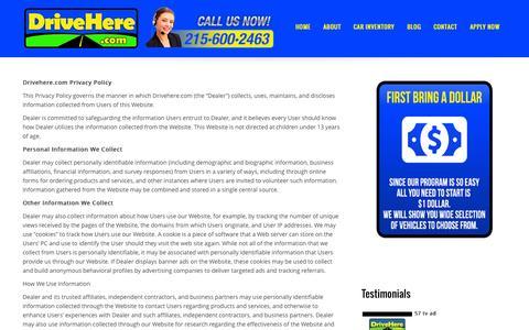 Screenshot of Privacy Page drivehere.com - Privacy Policy | DriveHere.com - captured Nov. 3, 2014