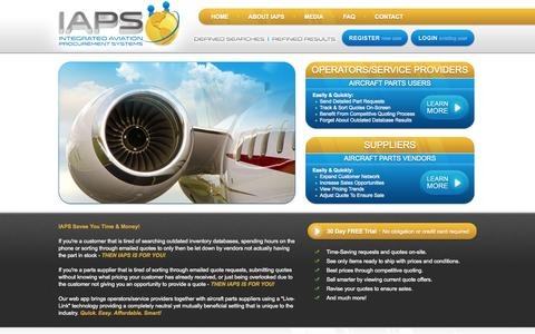 Screenshot of Home Page iaps.aero - IAPS - Integrated Aviation Procurement Systems - captured Oct. 3, 2014