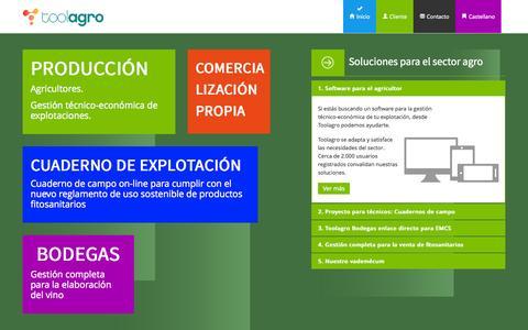 Screenshot of Home Page toolagro.com - Gestión Agrícola Professional - Toolagro - captured Sept. 30, 2014