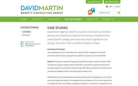 Screenshot of Case Studies Page davidmartinagency.com - Case Studies | David Martin Agency - captured Oct. 5, 2014