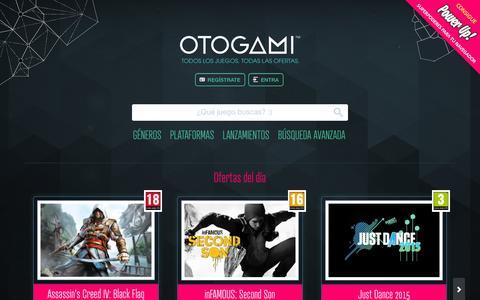 Screenshot of Home Page otogami.com - La web para buscar y comprar juegos baratos y al mejor precio   Otogami - captured Dec. 4, 2015