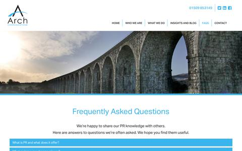 Screenshot of FAQ Page arch-comms.co.uk - PR and Marketing faqs from Arch Communications | East Leake : Arch Communications - captured Nov. 12, 2018