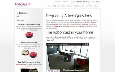 Screenshot of FAQ Page robomaid.com.au - Robomaid Frequently Asked Questions | Robomaid Australia - captured Oct. 6, 2014