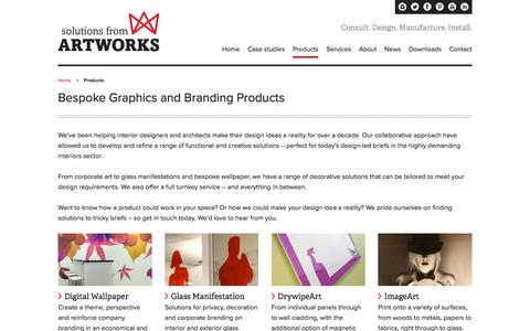 Screenshot of Products Page artworks-solutions.com - Bespoke Graphics and Branding Products - Artworks Solutions Ltd - captured Nov. 21, 2016
