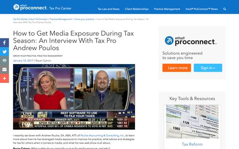 Screenshot of Press Page intuit.com - How to Get Media Exposure During Tax Season: An Interview With Tax Pro Andrew Poulos | Tax Pro Center | Intuit ProConnect - captured Nov. 21, 2019