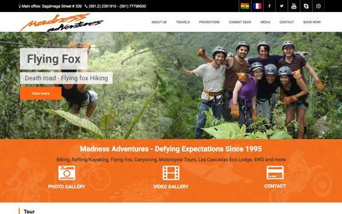 Screenshot of Home Page madness-bolivia.com - Madness Adventures Bolivia - captured Oct. 4, 2017