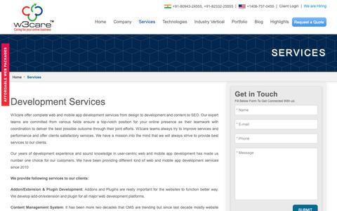 Screenshot of Services Page w3care.com - Website and Mobile Application Development Services | W3care Technologies - captured Oct. 19, 2018