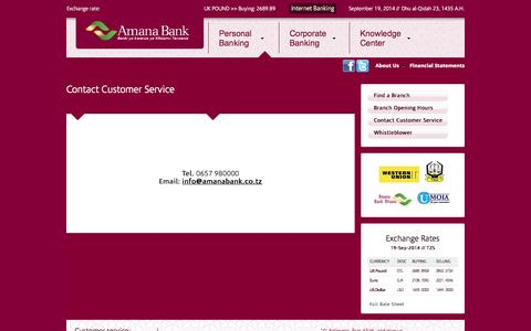 Screenshot of Support Page amanabank.co.tz - Contact Customer Service | Amana Bank - captured Sept. 19, 2014