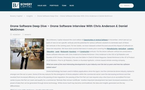 Screenshot of bowerycap.com - Drone Software Interview with Chris Anderson & Daniel McKinnon of 3DR - captured March 31, 2017