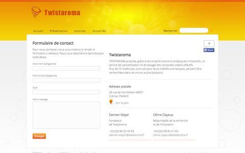Screenshot of Contact Page twistaroma.fr - Twistaroma - Contact - Pour toutes questions ou demande de tarification, contactez-nous. - captured Oct. 9, 2014
