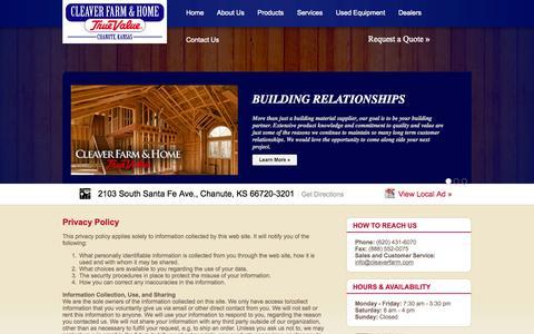Screenshot of Privacy Page cleaverfarm.com - Cleaver Farm & Home - captured Oct. 2, 2014