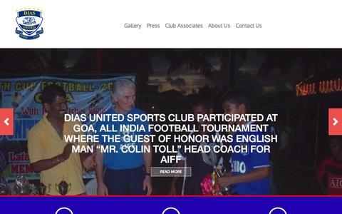 Screenshot of Home Page diasunited.com - Dias United | Dias United Sports Club - captured Oct. 5, 2014