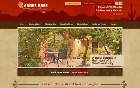 Screenshot of Home Page aroseinn.com - Tucson Bed and Breakfast Near the University of AZ | Adobe Rose Inn - captured Sept. 4, 2015
