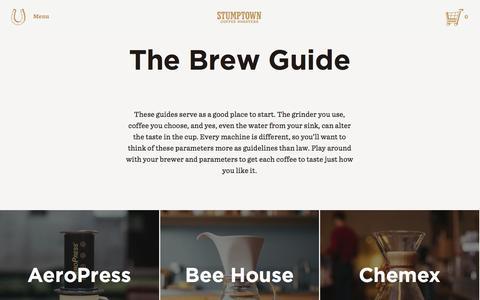 Screenshot of stumptowncoffee.com - Brewing Guide Learn To Brew the Best Coffee   Stumptown - captured March 21, 2016