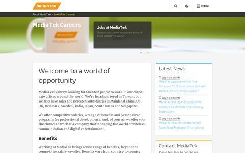 Screenshot of Jobs Page mediatek.com - MediaTek Careers - MediaTek - captured July 18, 2014