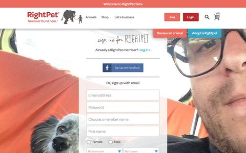 Screenshot of Signup Page rightpet.com - Get Started with RightPet to Find the Right Pet For You - captured Sept. 18, 2016