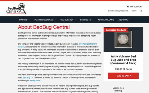 Screenshot of About Page bedbugcentral.com - About BedBug Central | BedBug Central - captured Aug. 1, 2018