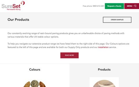 Screenshot of Products Page sureset.co.uk - Our Resin Bound Permeable Paving Products - SureSet - captured Nov. 6, 2017
