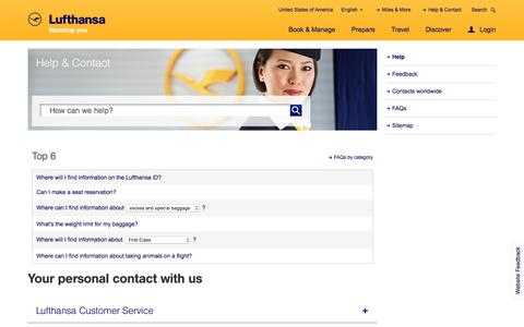 Screenshot of Contact Page lufthansa.com - Help - Lufthansa ® United States of America - captured Jan. 24, 2018