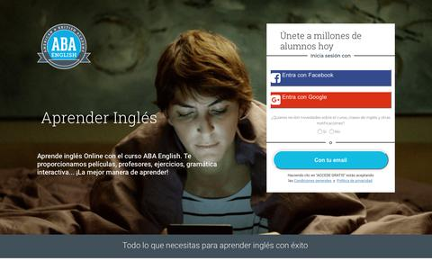 Screenshot of Landing Page abaenglish.com - Aprender Inglés   ABA English - captured May 29, 2018