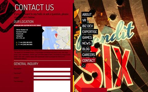 Screenshot of Contact Page climaxstudios.com - Climax Studios |   Contact - captured Oct. 2, 2014
