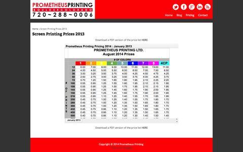 Screenshot of Pricing Page prometheusprinting.com - Screen Printing Prices 2013 | Prometheus Printing - captured Oct. 3, 2014