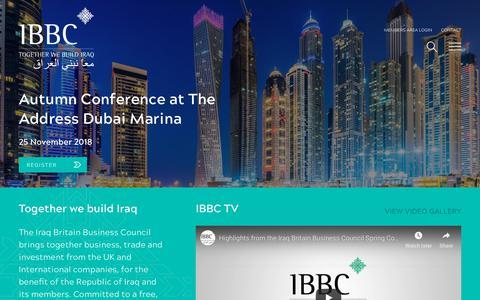 Screenshot of Home Page iraqbritainbusiness.org - Homepage - IBBC - captured Oct. 22, 2018