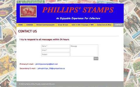 Screenshot of Contact Page phillipsstamps.com - Phillips' Stamps, Ottawa, ON, Canada | CONTACT - captured June 30, 2018