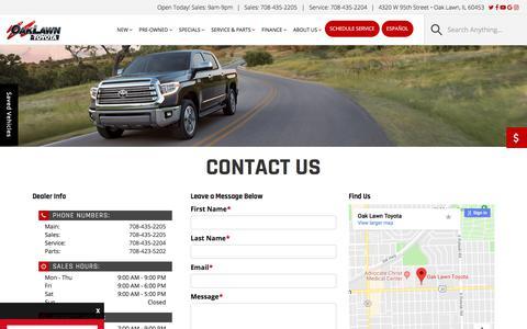 Screenshot of Contact Page oaklawntoyota.com - Contact Oak Lawn Toyota | 4320 W 95th Street Oak Lawn, IL 60453 | 708-435-2205 - captured Sept. 20, 2018
