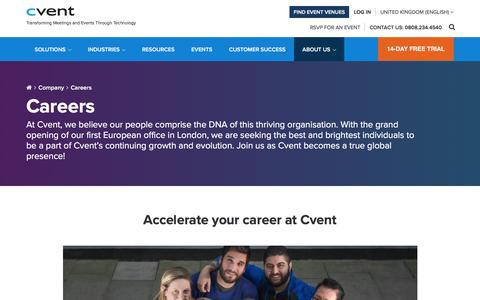 Screenshot of Jobs Page cvent.com - Careers at Cvent, Current Openings | Cvent - captured Jan. 18, 2018
