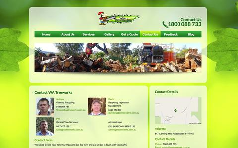 Screenshot of Contact Page watreeworks.com.au - Contact Us | WA Treeworks - captured Sept. 30, 2014