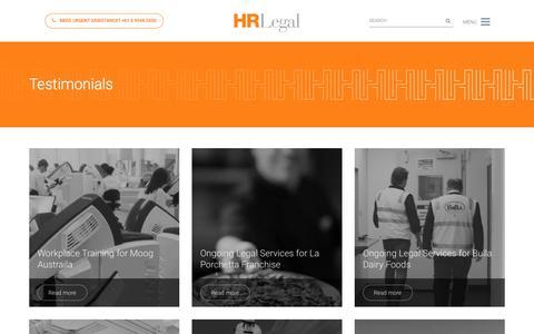 Screenshot of Testimonials Page hrlegal.com.au - Testimonials Archive | HR Legal - captured July 15, 2018