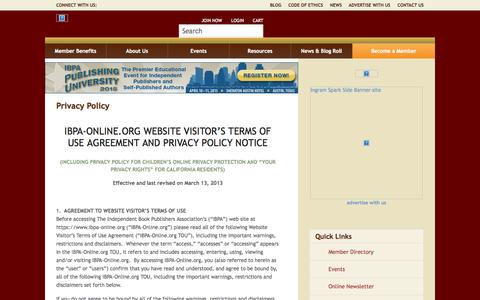 Screenshot of Privacy Page ibpa-online.org - Privacy Policy - captured Sept. 19, 2014