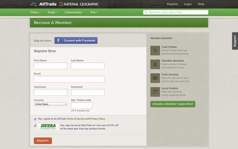 Screenshot of Signup Page alltrails.com - Register | AllTrails.com - captured Sept. 13, 2014
