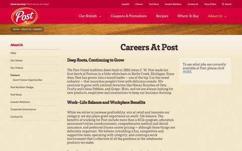 Screenshot of Jobs Page postfoods.com - Post Cereal Careers - Post Cereal Jobs | Post Foods - captured Sept. 22, 2014
