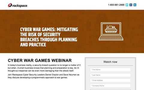 Screenshot of Landing Page rackspace.com - Cyber War Games webinar - captured Sept. 22, 2018