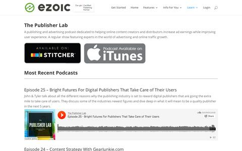 Screenshot of Press Page ezoic.com - The Publisher Lab Podcast | Ezoic Media - captured May 9, 2017