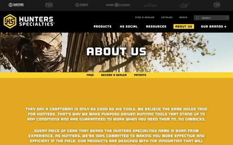 Screenshot of About Page hunterspec.com - About Us | Hunters Specialties - captured Sept. 27, 2016