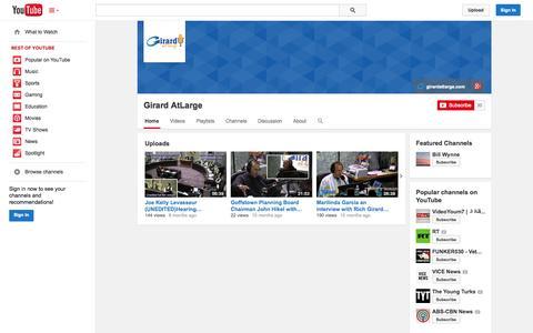 Screenshot of YouTube Page youtube.com - Girard AtLarge  - YouTube - captured Oct. 22, 2014