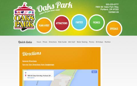 Screenshot of Maps & Directions Page oakspark.com - Directions to Oaks Amusement Park - captured Oct. 31, 2014