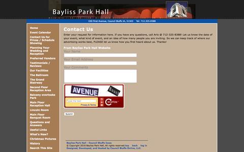 Screenshot of Contact Page baylissparkhall.com - Contact Us - Bayliss Park Hall - Council Bluffs Iowa - captured June 23, 2016