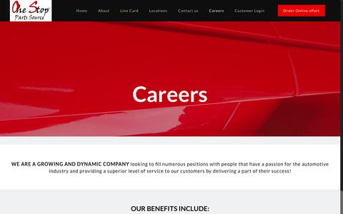 Screenshot of Jobs Page onesps.com - Careers – Aftermarketing and OEM Automotive Parts - captured Oct. 25, 2017